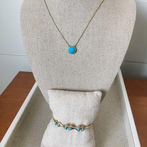 Stella & Dot: Maya Necklace & Turquoise Stone Cuff
